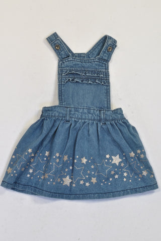 Ackermans Denim Glitter Star Dungaree Dress Girls 12-18 months