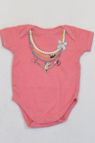 Disney Pink Minnie Mouse Necklace Baby Grow Girls 0-3 months