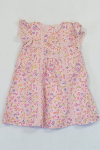 Mothercare Pink & Yellow Butterfly Lined Dress Girls 6-9 months