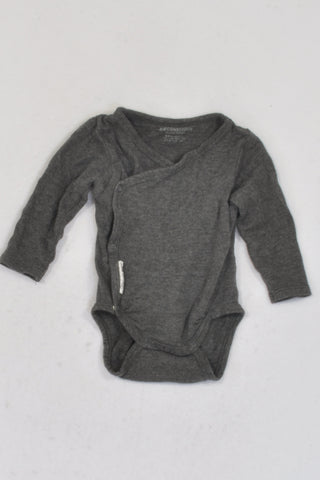 H&M Organic Cotton Heathered Charcoal Side Snap Detail Baby Grow Unisex N-B