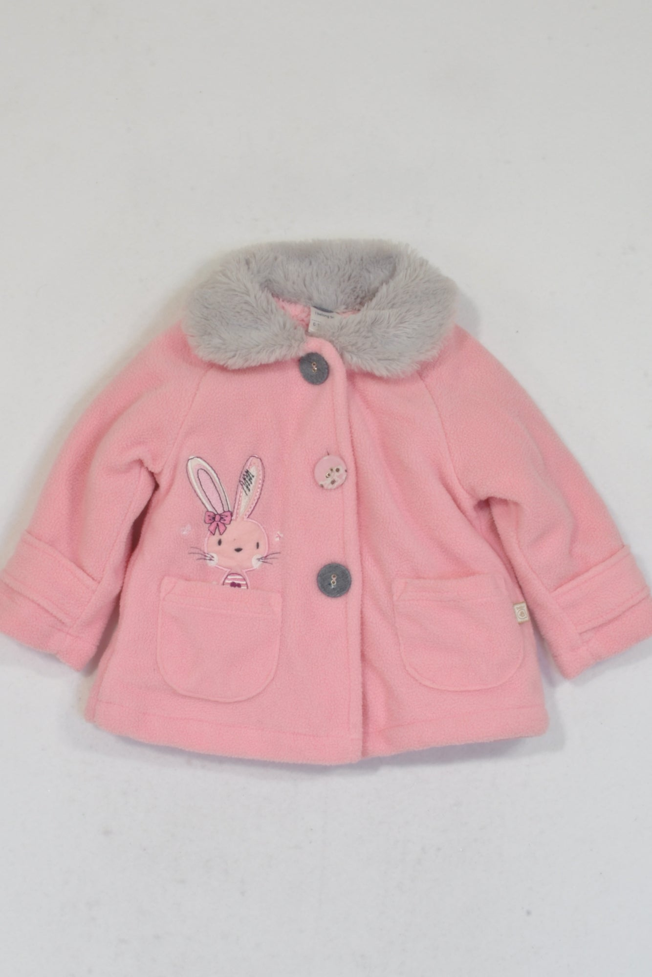 Ackermans Pink Fleece Bunny Faux Fur Collar Jacket Girls 0-3 months