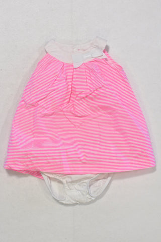 Carters Neon Pink Stripe Dress Outfit Girls 6-9 months