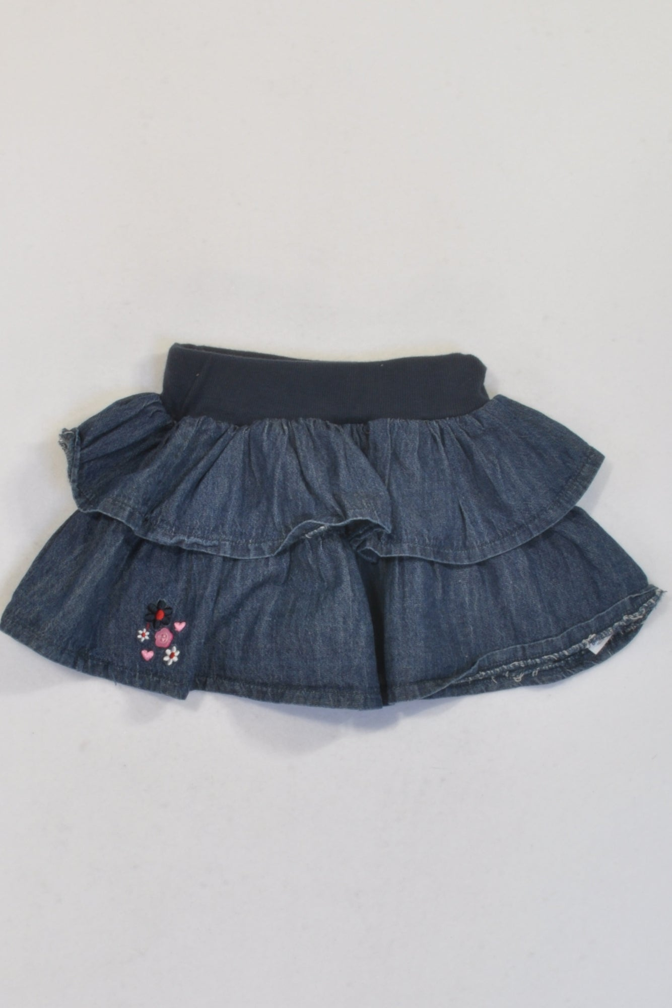 Denim Flower Detail Layered Ruffles Skirt Girls 3-6 months