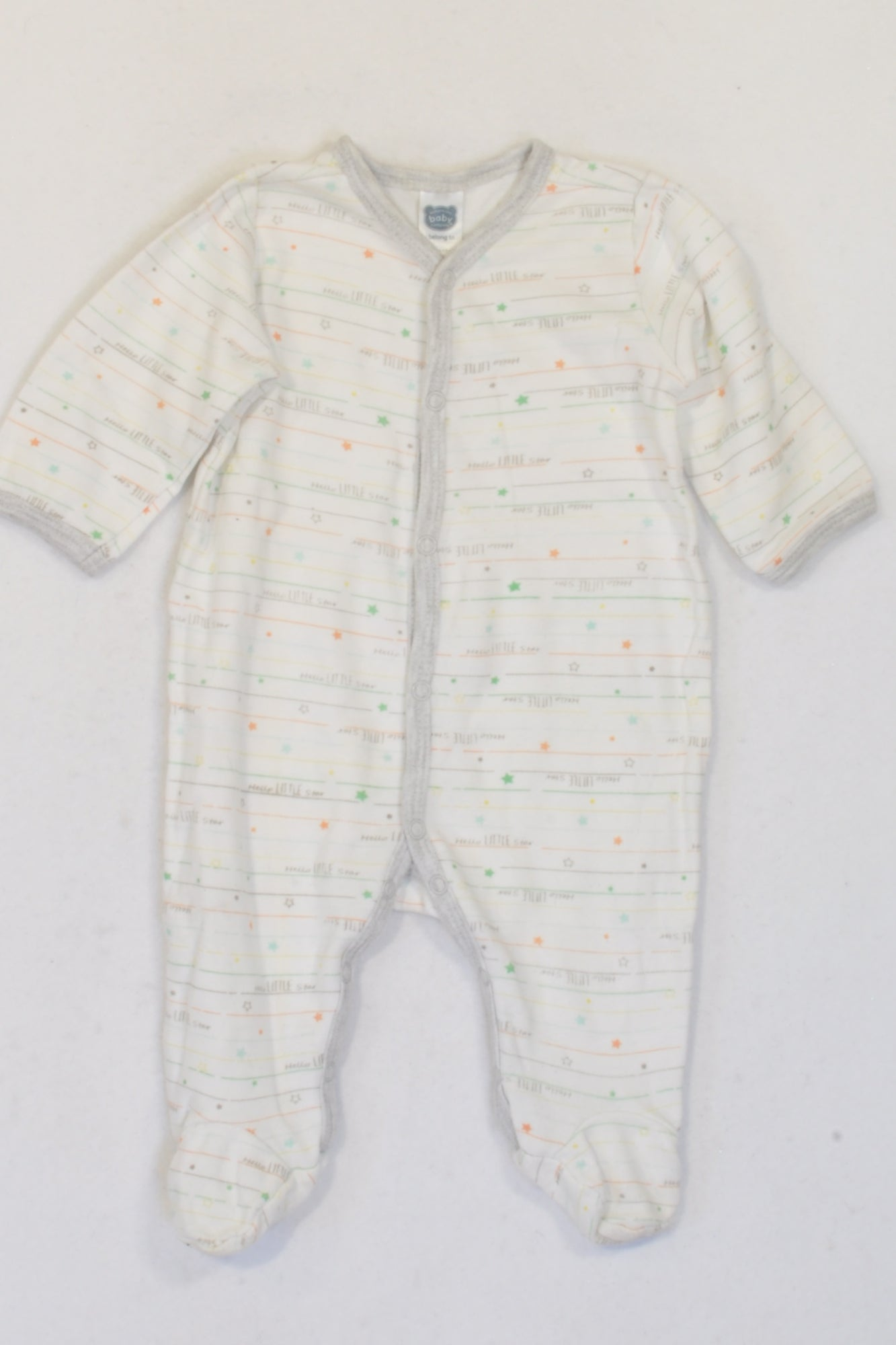 Ackermans White Hello Little Star Onesie Unisex 0-3 months