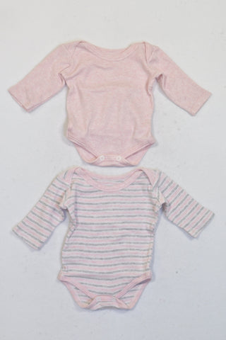 Woolworths 2 Pack Heathered Pink & Stripe Long Sleeve Baby Grow Girls N-B