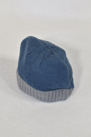 New Baby Boutique Blue & Grey Knit Beanie Unisex 0-3 months