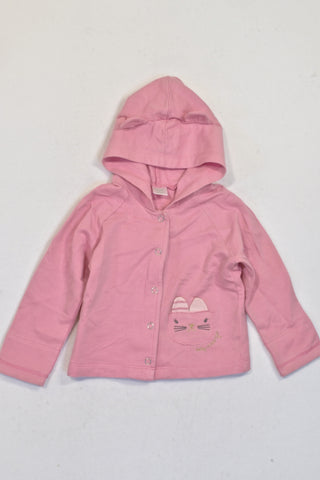 Naartjie Lightweight Pink Kitty Snap Hoodie Girls 3-6 months
