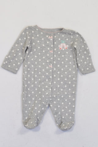 Carter's Grey & White Polka Dot Ballerina Onesie Girls N-B