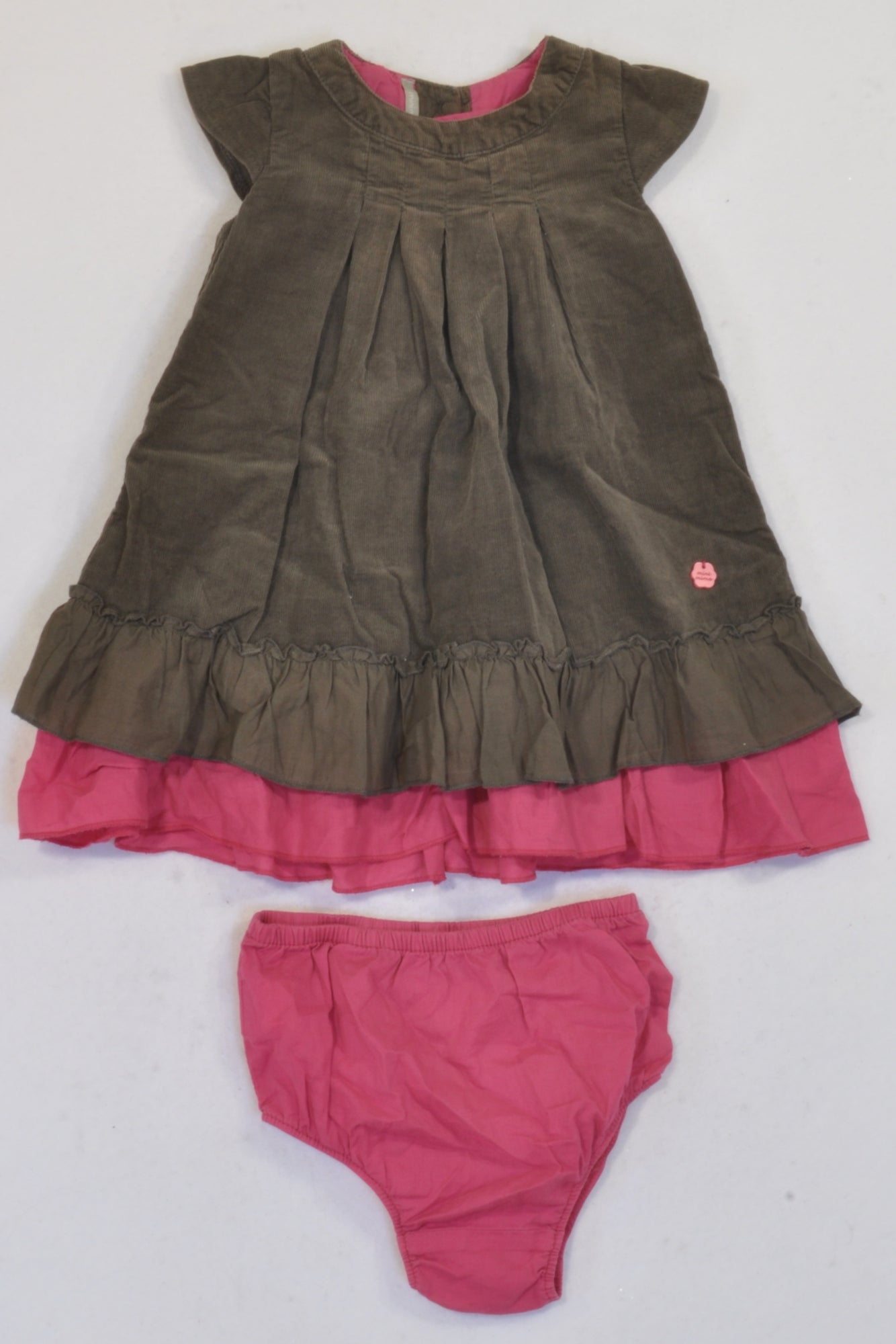 Minimimo Brown Corduroy Cerise Trim Dress & Bloomers  Outfit Girls 0-3 months