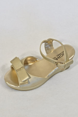 New Michael Kors Gold Bow Wedge Sandals Girls 5-6 years