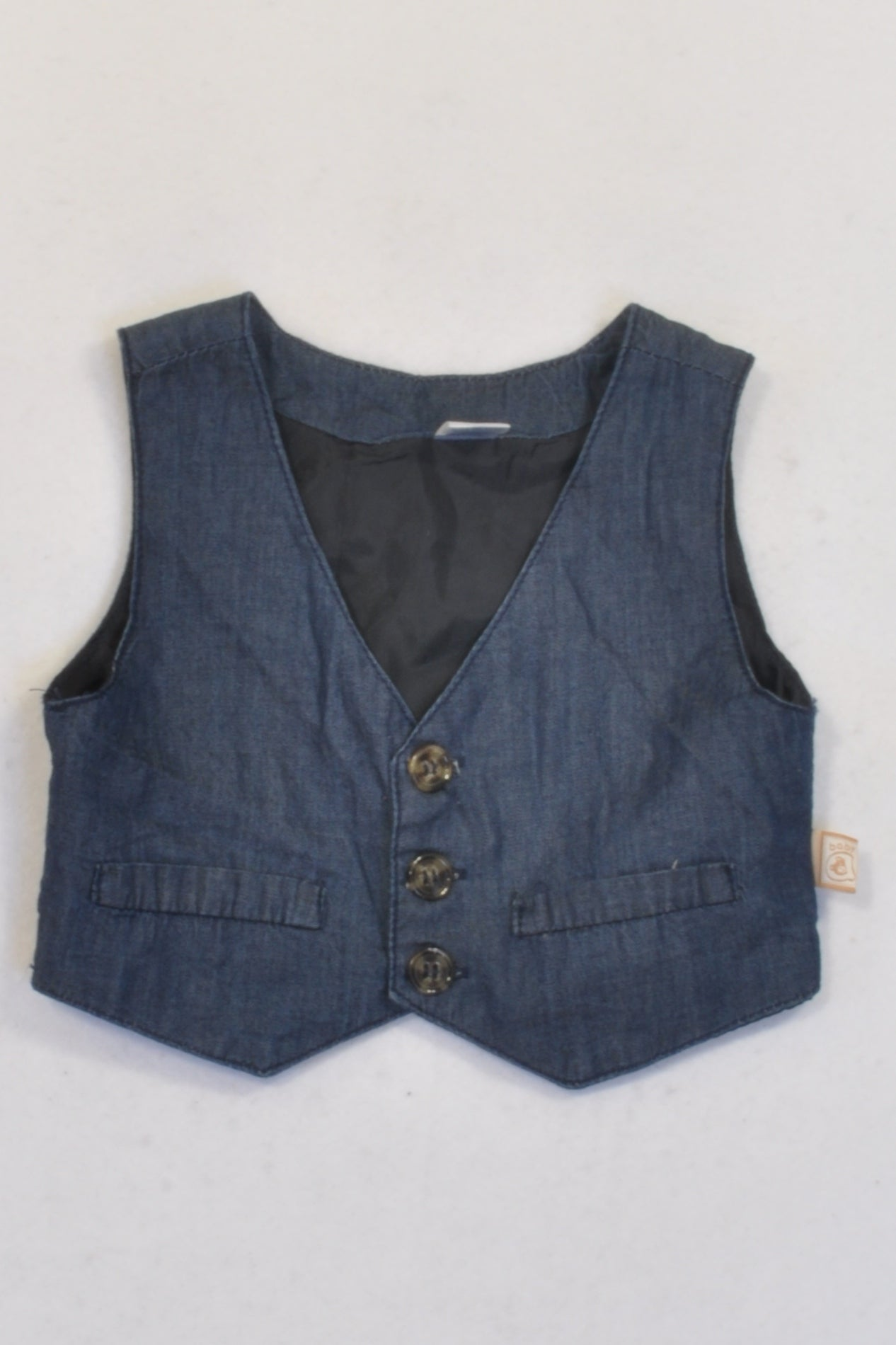 Ackermans Denim Tortoise Shell Button Waistcoat Jacket Boys 3-6 months
