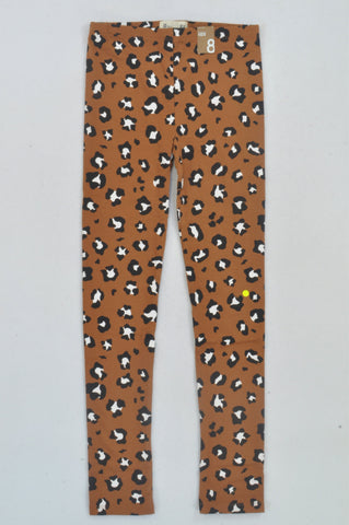 New Cotton On Copper Leopard Print Leggings Girls 7-8 years
