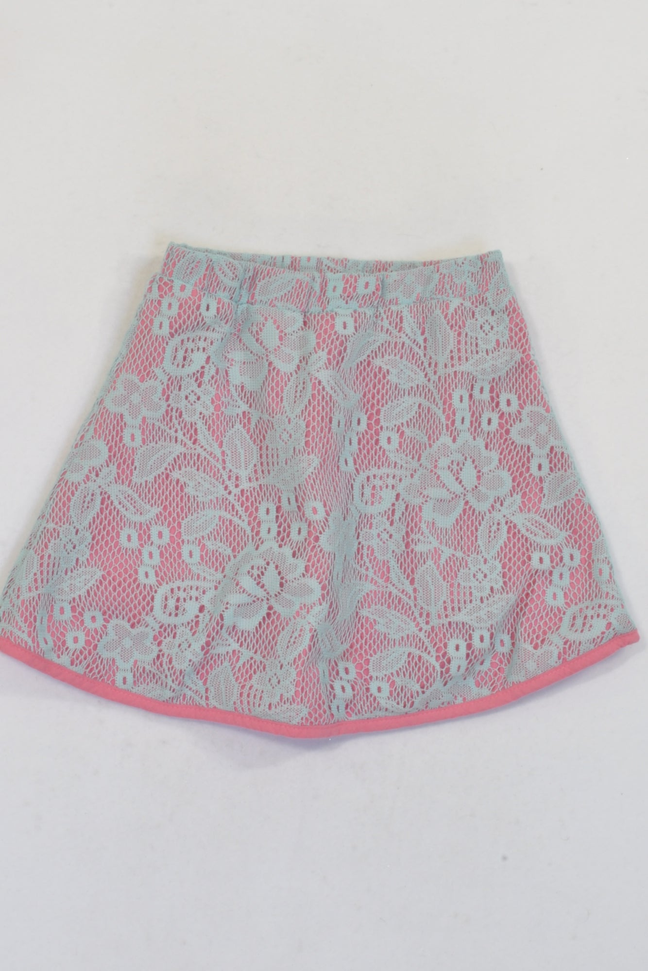 Babe Pink & Mint Lace Overlay Skirt Girls 4-5 years