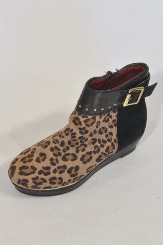 New River Island Studded Animal Print Ankle Wedge Boots Girls 3-4 years