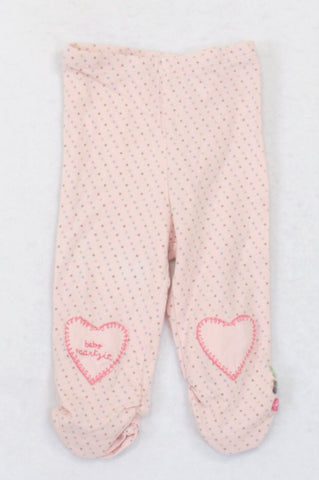 Naartjie Pink Heart Embroidered Dotty Leggings Girls 3-6 months