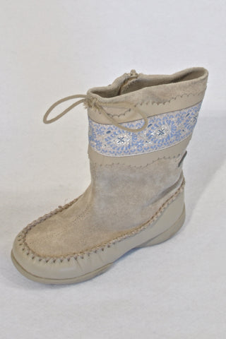 Clarks Beige & Blue Boho Trim Leather Boots Girls 2-3 years