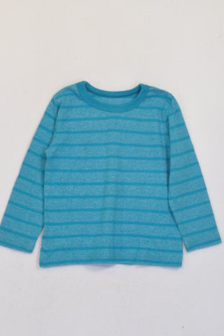 Woolworths Bright Turquoise Stripe Long Sleeve T-shirt Boys 12-18 months