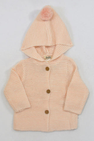 New Cotton On Peach Pom-Pom Hooded Knit Cardigan Girls 12-18 months