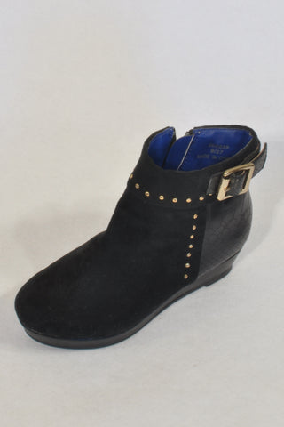 New River Island Studded Black 'Suede' Ankle Wedge Boots Girls 3-4 years