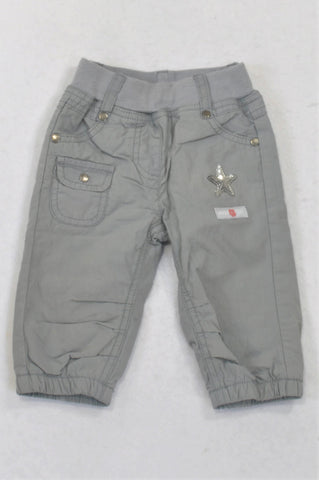 Naartjie Stone Grey Sequin Star Banded Pants Girls 6-12 months