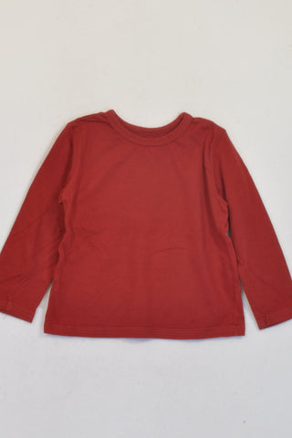 Woolworths Red Basic Long Sleeve T-shirt Unisex 12-18 months