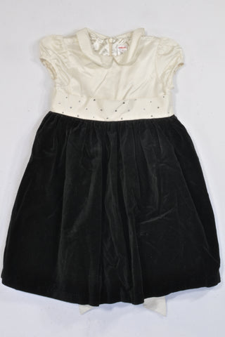 Gymboree Black Velour & Jewel Cream Occasion Dress Girls 5-6 years