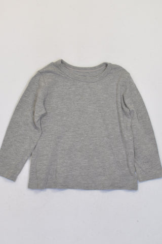 Woolworths Grey Basic Long Sleeve T-shirt Unisex 12-18 months