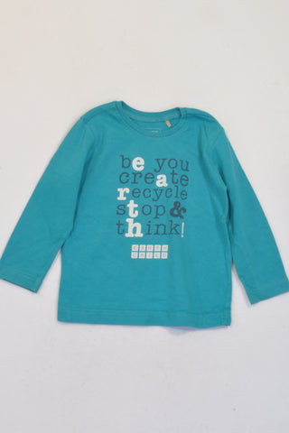Earth Child Turquoise Recycle Long Sleeve T-shirt Boys 18-24 months