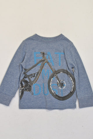 Woolworths Blue Speckled Bicycle Eat My Dust T-shirt Boys 18-24 months