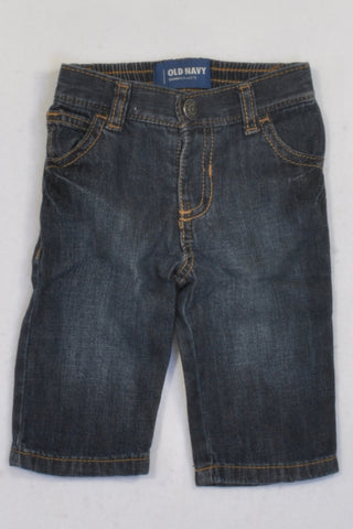 Old Navy Dark Denim Straight Leg Jeans Boys 3-6 months