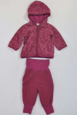 H&M Plum Fleece Floral Hoodie & Banded Pants Outfit Girls 0-3 months