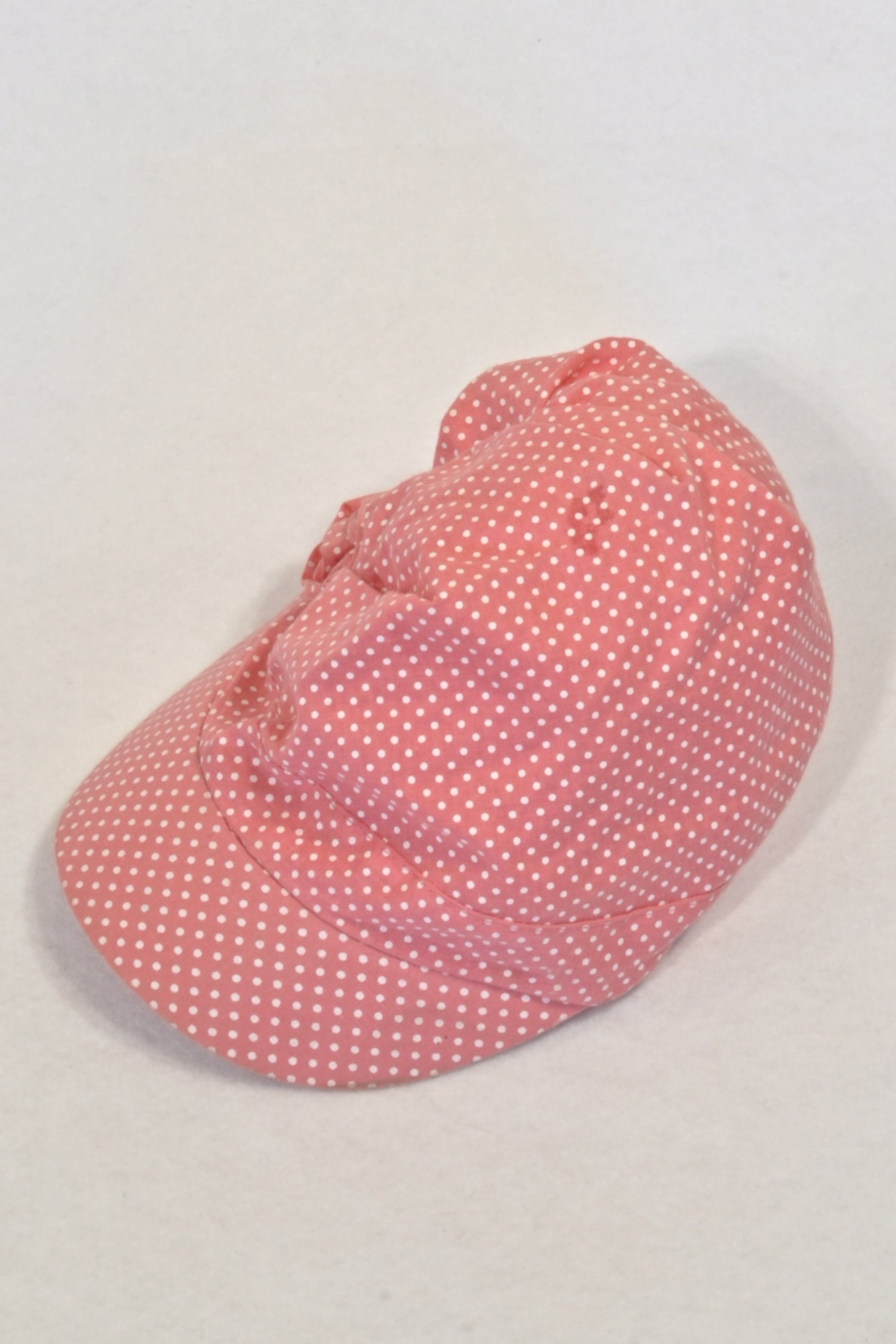 Ackermans Coral & White Dotty Bonnet Peak Hat Girls 6-12 months