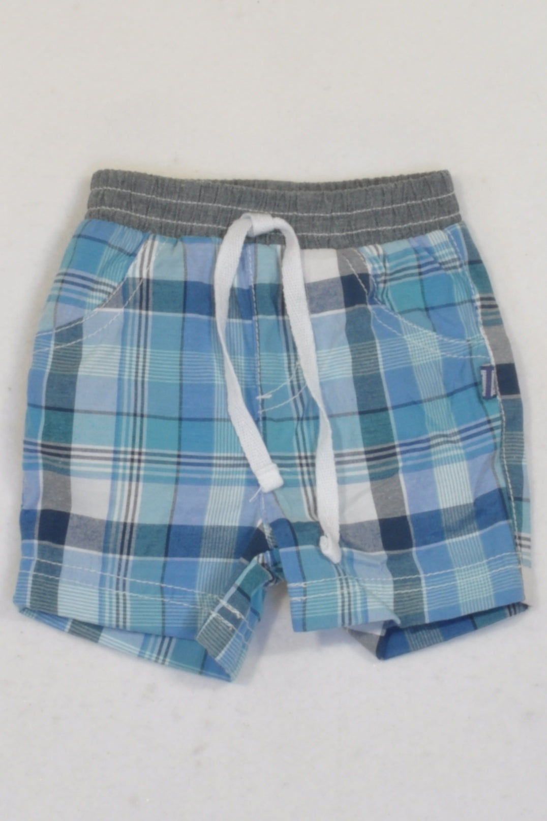 New Ackermans Blue & Mint Plaid Shorts Boys 0-3 months