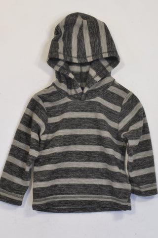 Woolworths Black & Grey Stripe Fleece Hoodie Boys 18-24 months