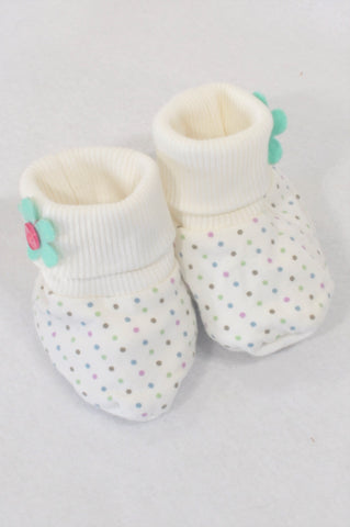 Naartjie Size 1 Ivory Dotty Flower Booties Girls 3-6 months