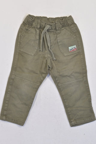 Naartjie Olive Elasticated Band & Tie Pants Boys 12-18 months
