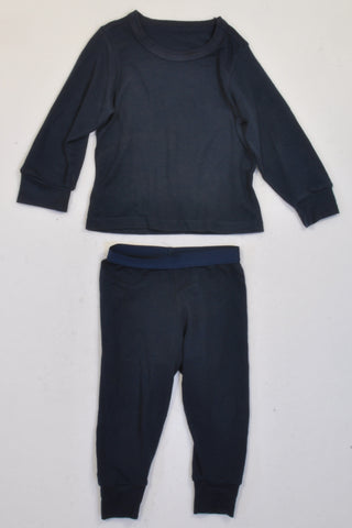 Woolworths Navy Thermal Top & Pants Outfit Unisex 18-24 months