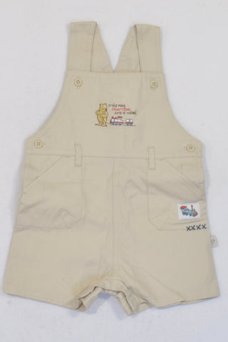 Disney Beige Pooh Bear Train Shorts Dungarees Unisex 3-6 months