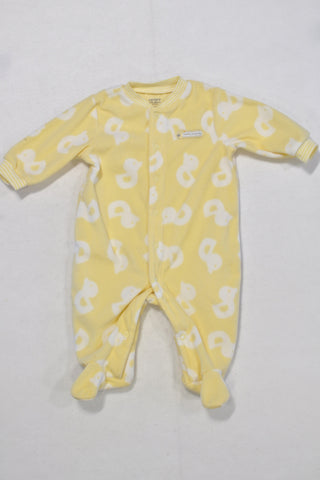 Carters Yellow Duck Print Fleece Onesie Unisex 0-3 months