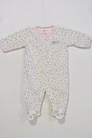Carters White Cheetah Print Fleece Onesie Girls 0-3 months