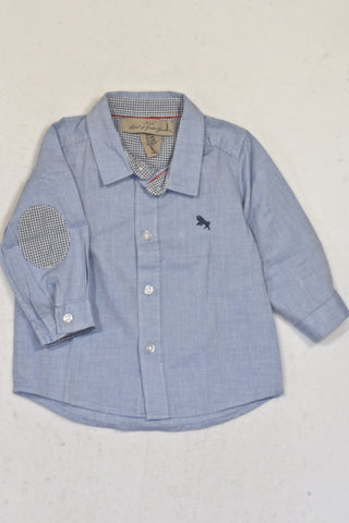 H&M Denim Look Collared Shirt Boys 3-6 months