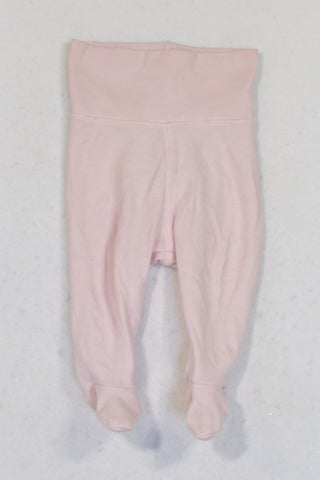 H&M Pink Banded Organic Cotton Footed Leggings Girls 1-2 months