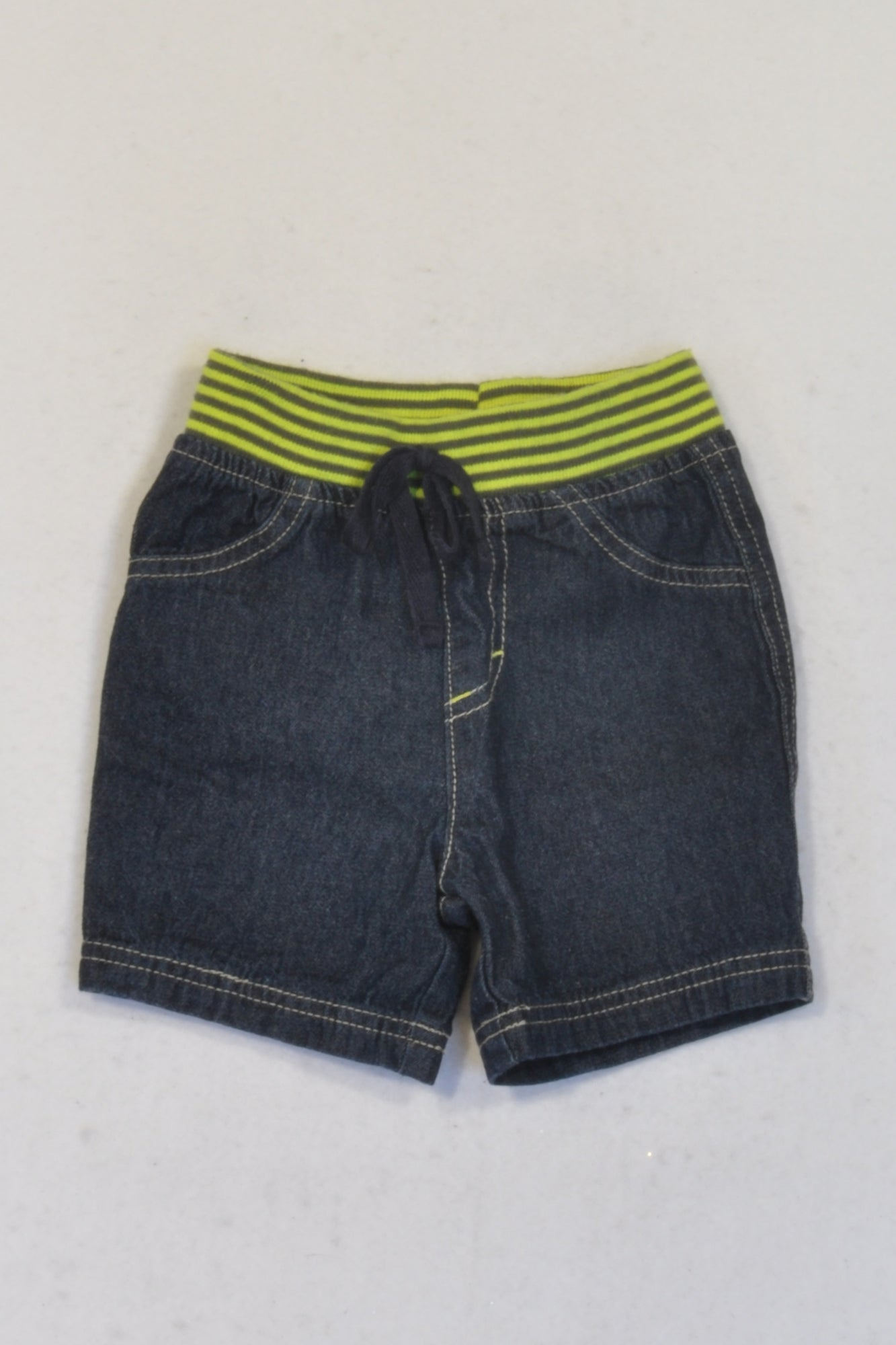 New Ackermans Dark Denim & Green Banded Shorts Boys 3-6 months