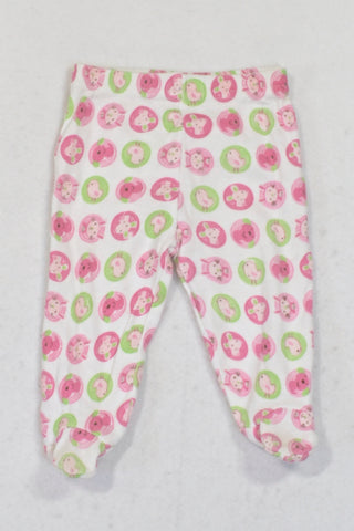 PEP Pink & Green Animal Circles Footed Leggings Girls 0-3 months