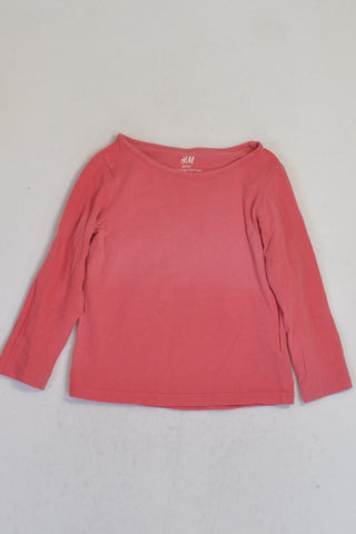 H&M Organic Cotton Basics Pink T-shirt Girls 18-24 months