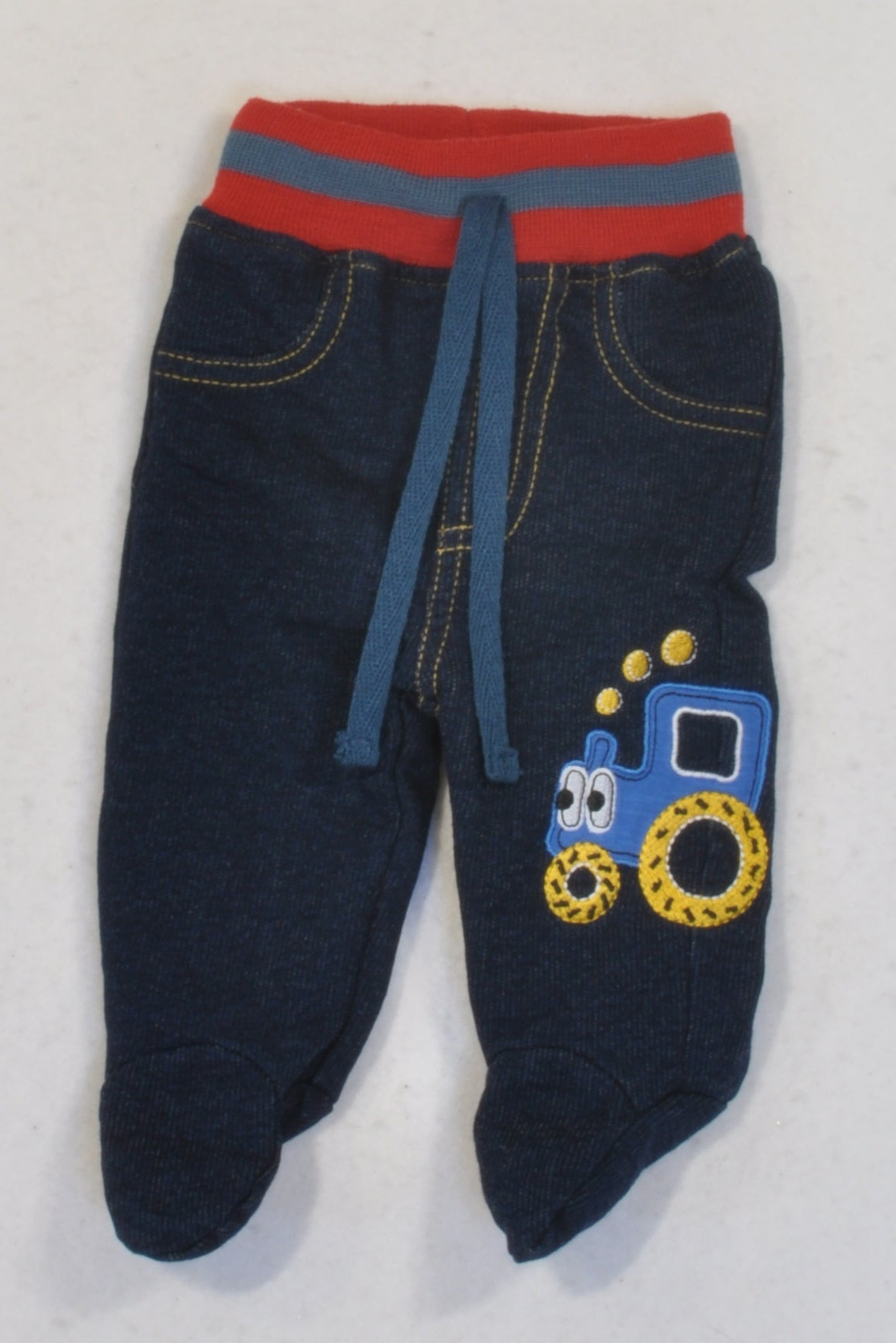 Ackermans Banded Stretch Denim Tractor Footed Leggings Boys N-B