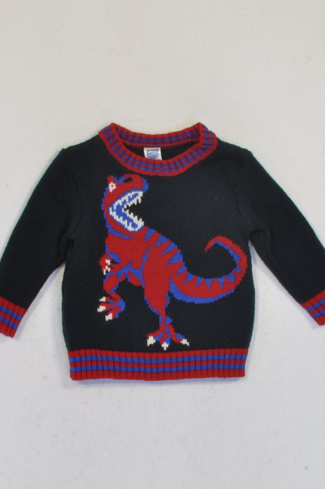 Ackermans Navy & Red Dinosaur Knitted Jersey Boys 3-6 months
