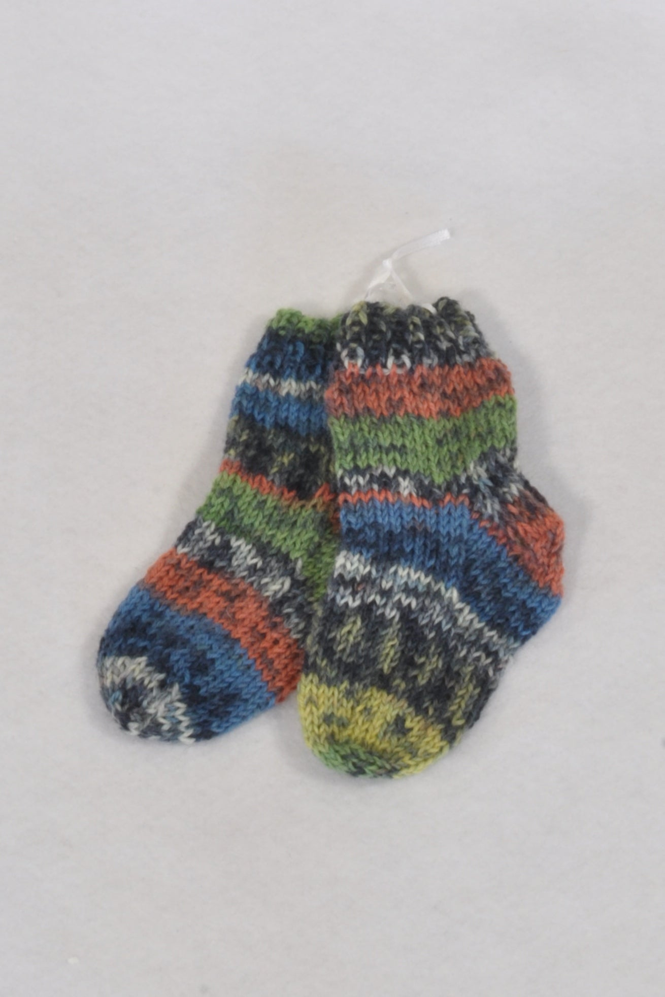 New Hand Made Blue And Green Striped Knit Socks Unisex 3-6 months