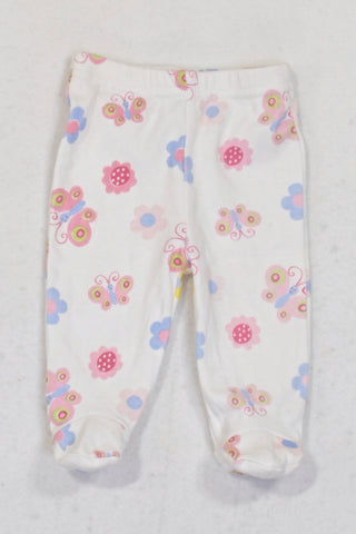 PEP White Butterfly & Flower Footed Leggings Girls 0-3 months