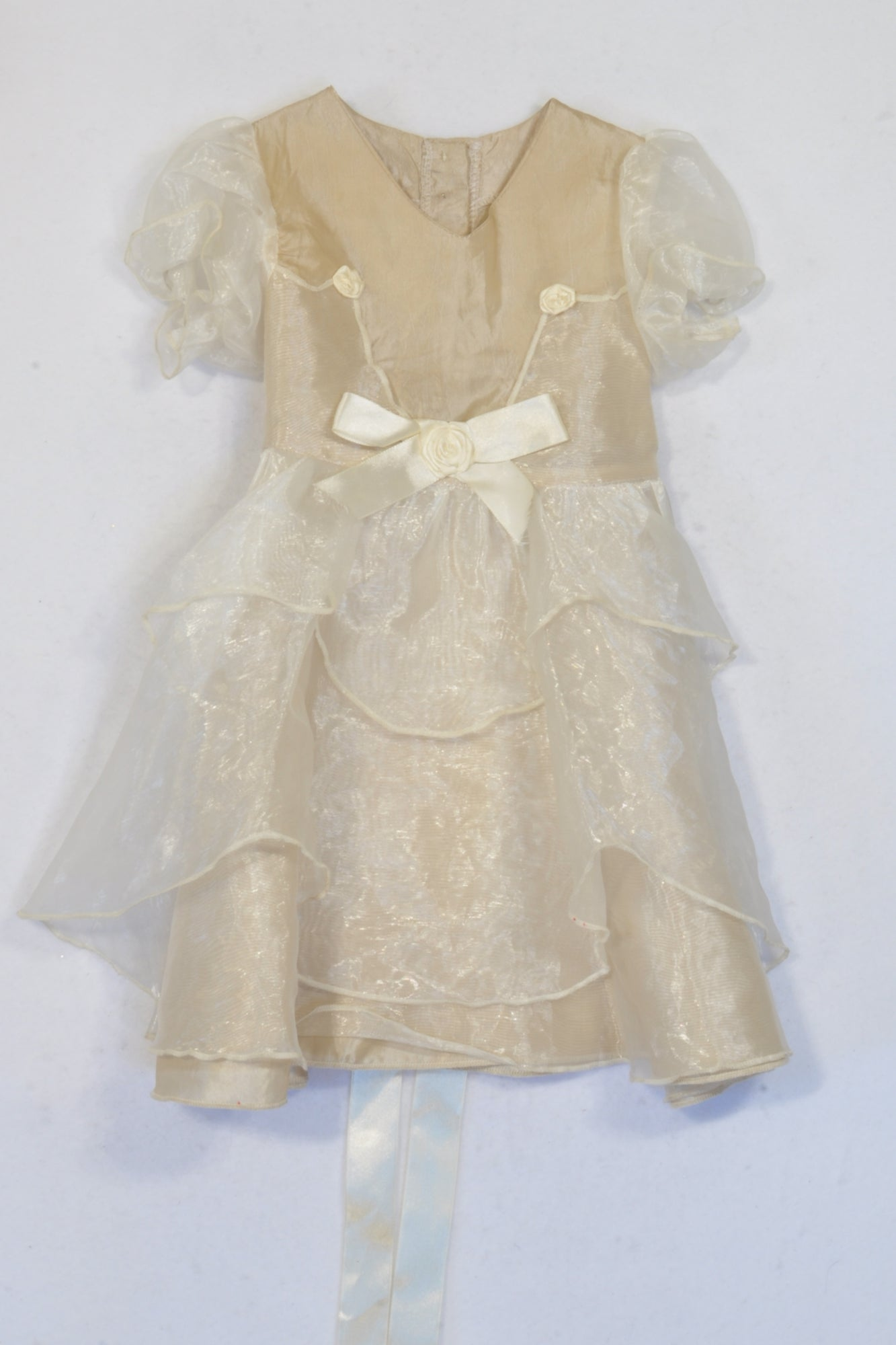 Luvly Miss Gold Organza Layered Dress Girls 6-12 months